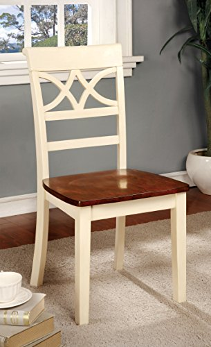 Furniture of America Cherrine Country Style Dining Chair, Oak/Vintage White, Set of 2