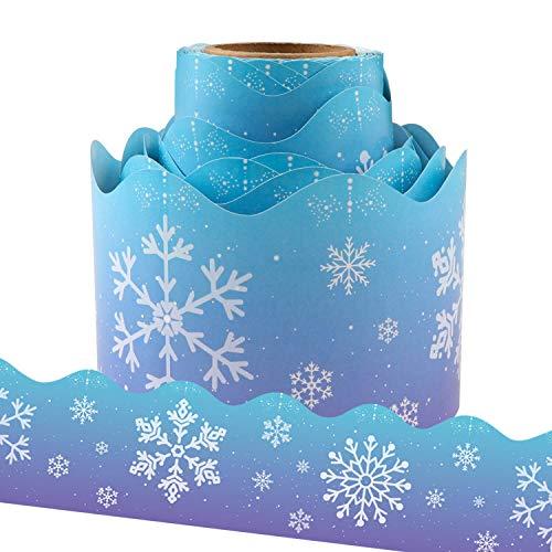 Yoklili Christmas Snowflakes Bulletin Board Border Trim for Classroom Home Decoration Scalloped 36ft