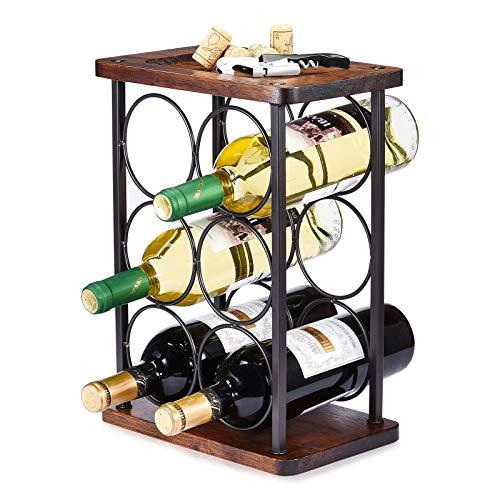 ALLCENER Countertop Wine Rack Wood Wine Bottle Holder Perfect for Home Decor Kitchen Storage Rack Bar Cellar Cabinet Pantry etc Hold 6 Bottles
