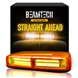 BEAMTECH - Luz estroboscópica de advertencia (6 ledes COB de 18 W de alta intensidad, para emergencias, con base magnética), color ámbar y amarillo