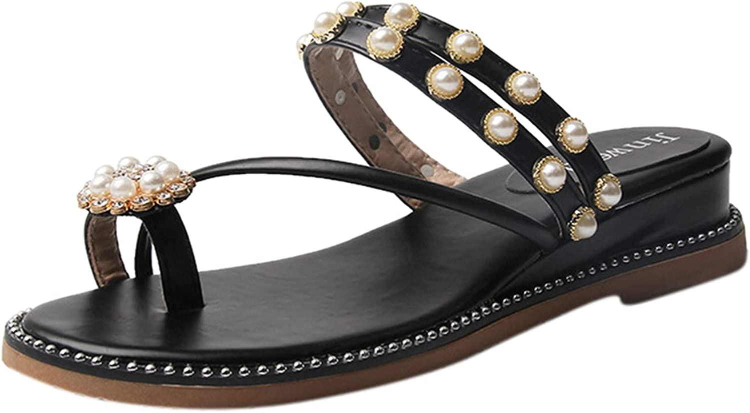 Gyouanime Minneapolis Mall Beach Indianapolis Mall Sandals with Ring-Toe Wedge Dre Pearl Rhinestone