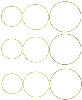 Fasdu 9 Pieces Gold Metal Rings Hoops Macrame Ring for Dream Catchers and Crafts, 6 Inch, 8 Inch, 10 Inch