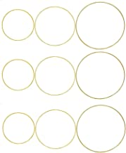 Fasdu 9 Pieces Gold Metal Rings Hoops Macrame Ring for Dream Catchers and Crafts Wreath Ring Floral Hoop, 6 Inch, 8 Inch, 10 Inch