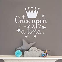 Diggoo Once Upon A Time Wall Decal Fairytale Decal Princess Crown Decor Girls Bedroom Decor Kids Room Quotes (White,14