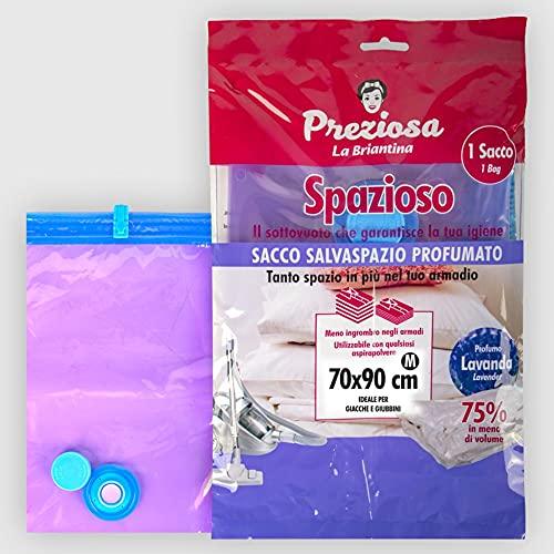 La Briantina Saco de ahorro de espacio al vacío perfumado para ropa, chaquetas y chalecos, 70 x 90 cm, perfume de lavanda