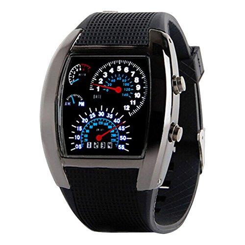 wildlead Hombres LED tacómetro de luz con calendario Sports Fan cuadro de mando coche reloj reloj