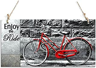 """zhongfei Rustic Signs Enjoy The Ride Decorative Sign with Bicycle Decor (10"""" x 5"""")"""