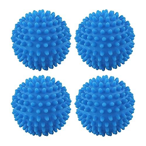 JUHONNZ Trocknerbälle,4 Stück Wiederverwendbarer Wãrmepumpentrockner Waschekugel Trocknerkugeln für Waschtrockner Würfel Weichspüler Ball ohne Schmelze zum Waschen Blau