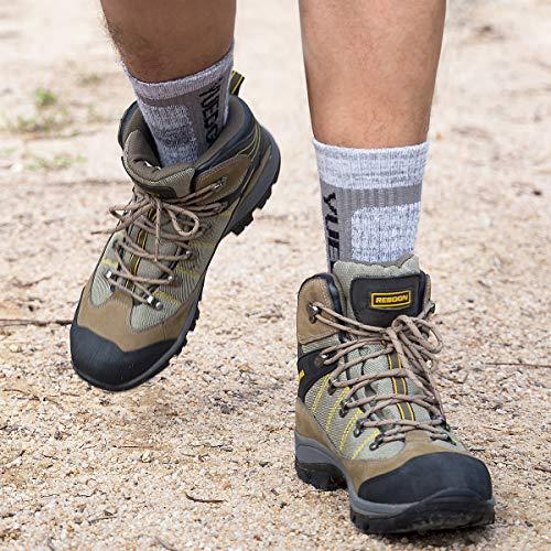 YUEDGE Men's 3 Pairs Wicking Breathable Cushion Anti Blister Caual Crew Socks Outdoor Multi Performance Hiking Trekking Walking Athletic Socks (L, Light grey/Grey/Black)