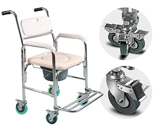 HKNC Shower Chair Commode,Folding Commode Chair Wheelchair Chair with Wheels and Brakes Aid Walking Chair