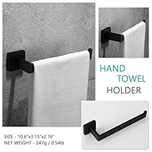 Velimax Premium SUS 304 Stainless Steel Bathroom Hardware Accessories Sets Bath Shower Set 4-Pieces(Robe Hook Toilet Paper Holder Towel Ring Towel Bar) Black Matte Finish Contemporary Style