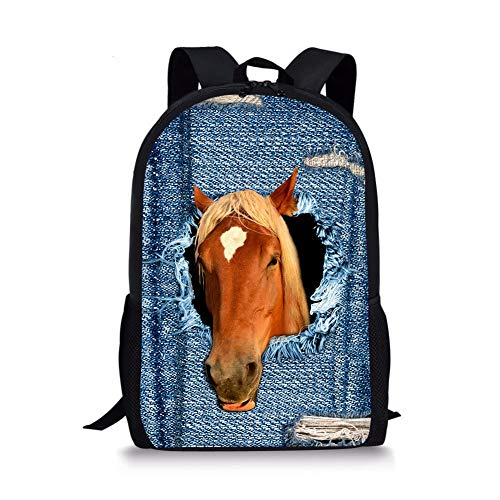 Kids School Backpack Horse Destroyed Denim Print Bookbag Travel Daypack -  CC3621-Horse -  Medium
