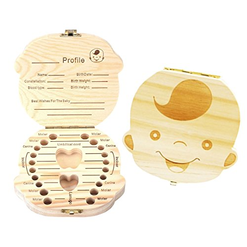 Mogoko Baby Teeth Keepsake Boxes Wooden Tooth Fairy Box, Child Kids Tooth Storage Holder Organizer(Boy, English; Customized Personalized Optional)