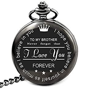 "【Saying Never Falls Off】 Engraved pocket watch with Chain featuring the saying ""To my brother: never forget that I love you forever. I hope you believe in yourself as much as I believe in you"". Saying will never fall off so the unique gift will be ap..."