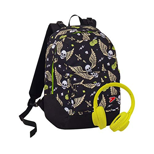 Zaino Reversibile The Double, Skull Boy, Nero, Con Cuffie Stereo Soft Touch, 27 Lt, 2in1, Scuola & Tempo Libero