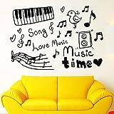 Tianpengyuanshuai Nota Musical Etiqueta de la Pared calcomanía de Vinilo boceto Instrumento Musical canción de Amor música Tiempo habitación Infantil decoración del hogar 45X64cm