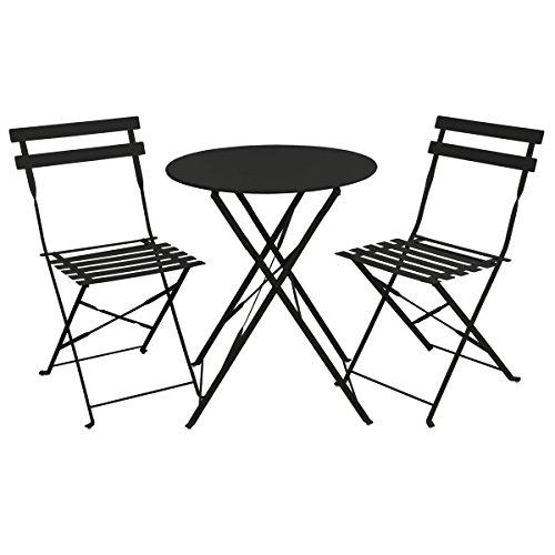 SVITA Bistro-Set 3-teilig Gartenset Garnitur Metall-Möbel Stuhl Tisch Klapp-Möbel Balkon-Set Blau Weiß Schwarz Grau (Schwarz)