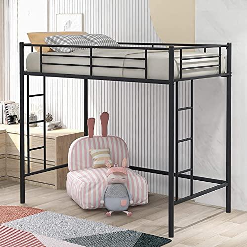 Den nyaste Twin Metal Loft Bed med 2 stegar och Guardrail, Twin Size Loft Bed för barn, småbarn, pojkar och flickor sovrum