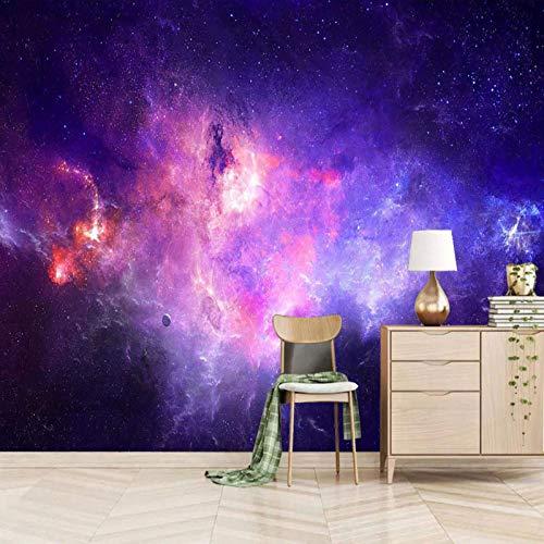Msrahves fotomurales decorativos pared 3d modernos Púrpura sueño universo cielo estrellado Fotomural TV Foto Mural Pared 3DFotomurales decorativos Papel tapiz estéreo 3D Fotomurales 3D Fotomural Vinil