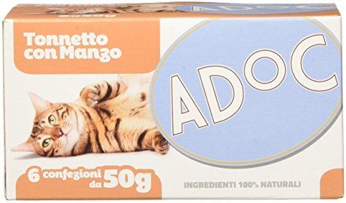 Adoc - Cibo Umido per Gatti Adulti con Ingredienti Naturali Tonnetto con Manzo - 48 lattine da 50gr