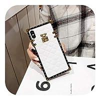 Csddg iPhone 12 11 Pro X XR XS Max 8 7Plus用ソフトラムスキンPUレザーケースSamsungGalaxy Note S20 S10Plus用スクエアチェック柄カバー-White-For Galaxy Note20