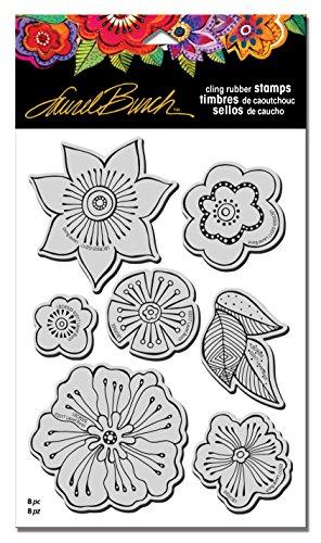 Stampendous Gummi-Set, Schablone Laurel Burch Stempel Blüten mit Tempel
