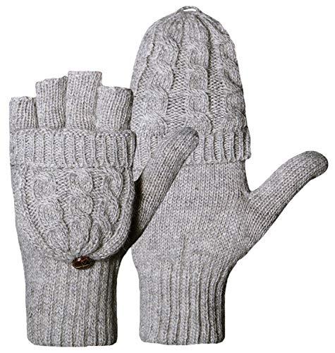Loritta Winter Gloves Warm Wool Knit Flip Fingerless Gloves Mittens for Women Gifts,F- Gray