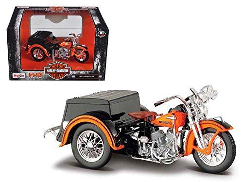 Maisto 1947 Harley Davidson Servi-Car Black with Orange HD Custom Motorcycle Model 1/18 Model