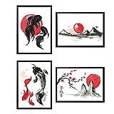Quadro Set di 4 Poster Stile Giapponese, arredo, Carta perlata, Stampe d'Arte - Formato A4 (21 x 29,7 cm)