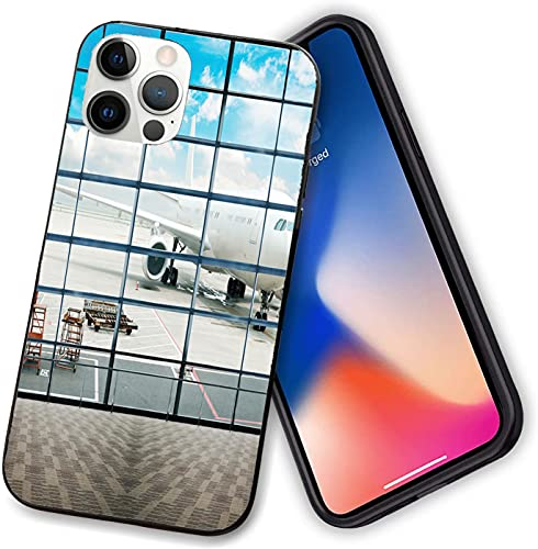 Case Compatible with iPhone 12,China Shangai Airport with Big Jet Plane Wanderlust Traveller Photograph,Soft TPU Cover Anti-Scratch&Shockproof Protective Phone Case for iphone 12-12 pro-6.1 inch