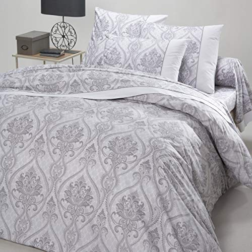 Marsala Home Duvet Cover Double Bed Grey Bedding Set Cotton 100% Damask Printed Quilt Cover Set (Agora Double Size)