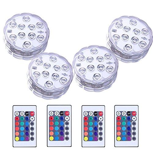 HOTSO 4PCS Lumière Submersible LED - 16 Couleurs 4 Mode par Télécommande Décoration Parfaite pour Aquarium Vases Fontaines Etangs