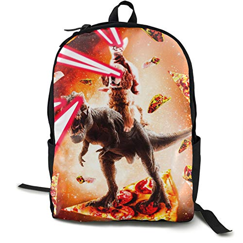 Pulchrumcs Galaxy Cat Dog Dinosaur Pizza Taco Burrito Orange Backpack Bookbag Large Capacity...