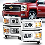 ACANII - For 2014-2015 Chevy Silverado 1500 LED Light Tube DRL Projector Headlights Headlamps Driver + Passenger Side