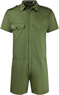 ZGDJZM Mens Rompers Zip Jumpsuit Short Sleeve Tracksuit One Piece Summer Overall Pocket Playsuit Shorts S-5XL