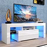 Universal TV Stand for 50+ Inch TV with Storage Cabinet, Glass Shelves, TV Entertainment Center LED Background Lights, 30/40/50/55 Inch Modern TV Cabinet Console Table for Bedroom Living Room, White