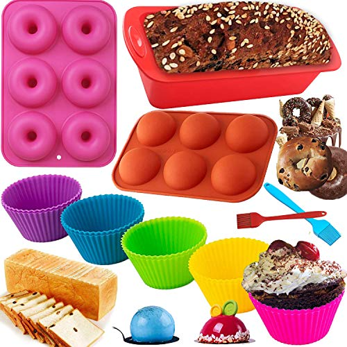 Silicone 15Pcs Baking Pan Set Molds 10 Silicone Muffin Cups Bread Loaf Pan Doughnut Pan Sphere Cake Pan Mold with 2 Basting Brush Pastry for Homemade Kitchen Birthday Cake Chocolate Candy (Donut+Dome)