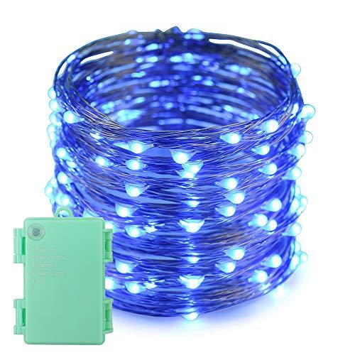 Erchen Batteriebetrieben LED Lichterkette, 66 FT 200 LED 20M Kupfer-Draht Lichterketten mit Timer für Innen Außen Weihnachten Party Garten terrasse (Blau)