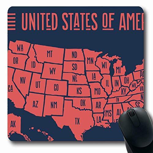 Mousepad Geografische Dc Poster Karte Vereinigte Staaten Von Amerika Kansas Ny State City Zeichen Kalifornien Hawaii Symbole Mousepad Oblong 25X30Cm Rutschfeste Gummimaus Matte Bü