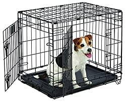 folding metal dog crate with growth divider