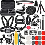 Neewer Upgraded 50-in-1 Action Camera Accessory Kit Compatible with GoPro Hero 10 9 8 Max 7 6 5 Black GoPro 2018 Session Fusion Silver White Insta360 DJI AKASO APEMAN Campark SJCAM Action Camera etc