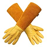 Gardening Gloves for Women/Men- Alomidds Rose Pruning Thorn & Cut Proof Long Elbow Durable Cowhide Leather Gardening Gloves for Pruning Cacti Rose and Thorny Bushes (L, YELLOW)