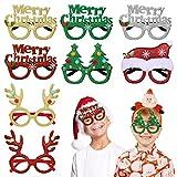 Kesote 8 Gafas Navidad con Monturas 3D Gafas de Fiesta Divertidas con Purpurina para Disfraces Decoraciones Fotografías