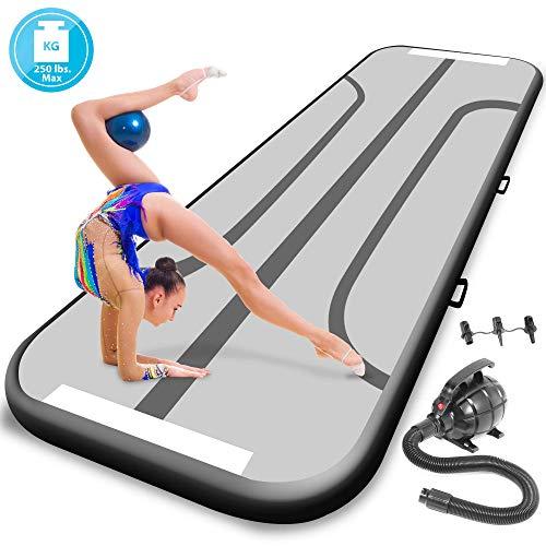 SereneLife Gymnastics Inflatable Air Tumbling Mat - 9.8ft Outdoor/Home Indoor Gymnastics Mat Air Track Tumbling Mat - Floor Tumble Track Mats for Gymnastics, Yoga, Cheerleading SLGM3KB (Black)