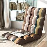zcyg Puff Silla pequeña y Acolchada Plegable for el Piso con Respaldo Ajustable de 6 Posiciones Cojín Grueso for el Asiento Lazy Lounge Sofa (Color : A, Size : 40 * 78 * 10 cm)