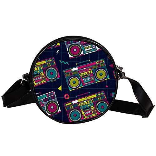 Round 80s Boombox Shoulder or Waist Crossbody Bag