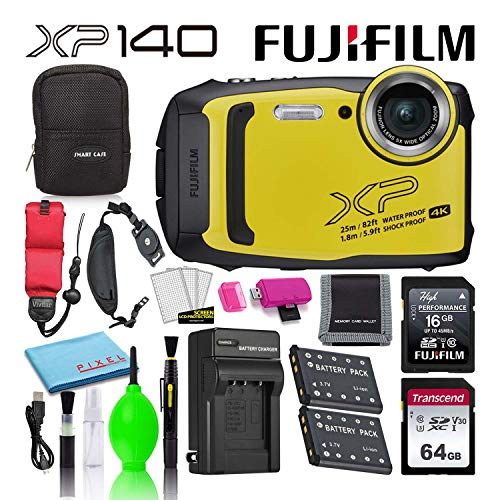 Fujifilm FinePix XP140 Waterproof Digital Camera (Yellow) Advanced Accessory Bundle -Includes- 64GB SD Card + 16GB SD Card + Camera Case + Extra Battery + Battery Charger + Floating Strap + More