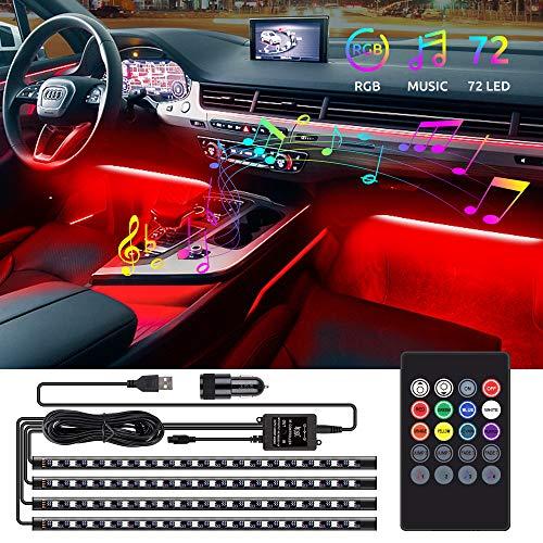 Speclux LED Auto Innenbeleuchtung, 72 LED Auto Streifen Licht LED Ambiente Beleuchtung, Drahtlose Fernsteuerung, Musik & Sprachsteuerung