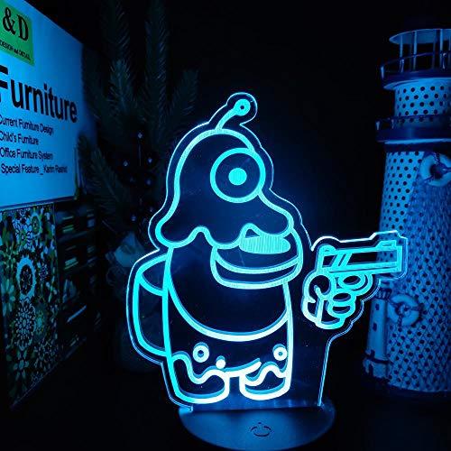 Luz De Ilusión 3D Luz De Noche Led Entre Nosotros Juego Lámpara De Mesa De Anime 7 Cambios De Color Para Regalo De Navidad Regalos De Cumpleaños Para Niños