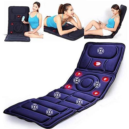 WAHHW Massagematte mit Hitze, Shiatsu-Nackenmassagegerät mit Hitze, Shiatsu mit vollem Rücken oder Rollmassage, zur Linderung von Rückenschmerzen,Schwarz